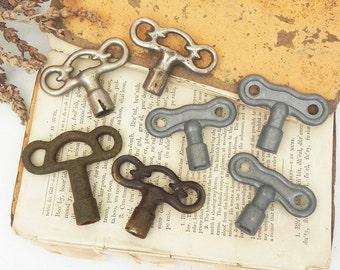 7 Salvaged Vintage clock and utility keys DIY Repurpose Assemblage Steampunk supply