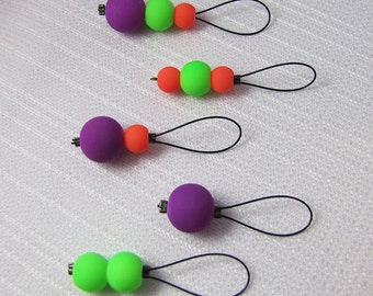 Neon Lights - Five Snagless Stitch Markers - Fits Up To 6 mm (10 US)