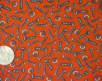 Nuts and Bolts Fabric-Red-Great for Big Guys-Little Guys-Quilts-Curtains-Boxers-etc-6.50/yard