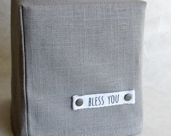 Bless You Tissue Box Cover, Linen, Greystone, Gray