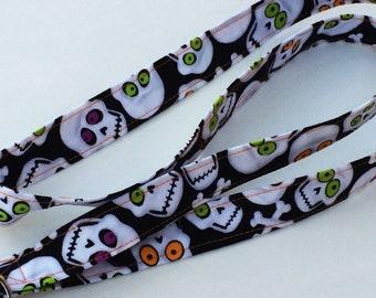 Skull Lanyard, Neon orange and lime eyes, Party Lanyard, ID badge holder, key holder, camera and phone holder