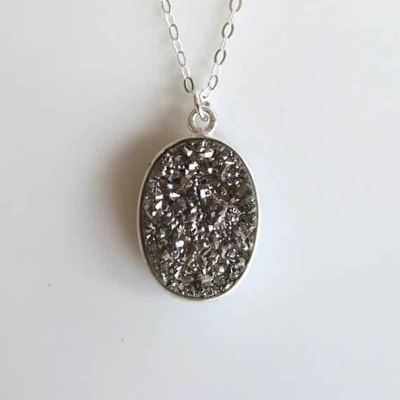 Silver Titanium Druzy Necklace- Silver Drusy Necklace- Oval Druzy Necklace- Meteor- Space- NS-DR4