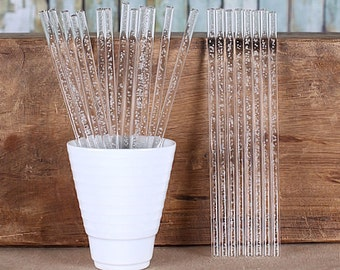 "Clear Acrylic Cake Pop Sticks with Champagne Bubbles, Clear Bubble Cake Pop Sticks, Clear Lollipop Sticks, Marshmallow Pop Sticks (6"" - 24)"