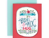 A Bushel & a Peck Greeting Card | Love and Friendship Greeting Card | Hand Lettered | Red | A2 | Made in the USA | GC007