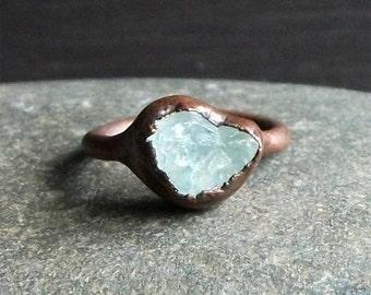 Aquamarine Ring Rough Stone Jewelry Raw Crystal Aquamarine Ring Copper Gemstone Ring Size 5.5 Ring March Birthstone