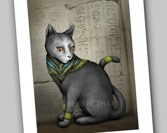 Egyptian Cat, Bastet Goddess Ancient Mythology, Fine Art Print, Original Design