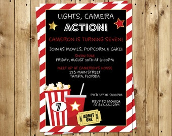 Movie, Birthday Party, Invitations, Lights, Camera, Action, Theatre, Popcorn, Black, White, Red, 10 Printed Invites, FREE Shipping, Custom