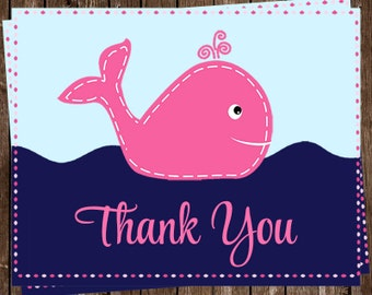 Whale, Thank You Cards, Nautical Baby Shower, Birthday, Pink, Navy, Little Squirt, Sprinkle, 24 Folding Notes, Free Ship, WOTIM