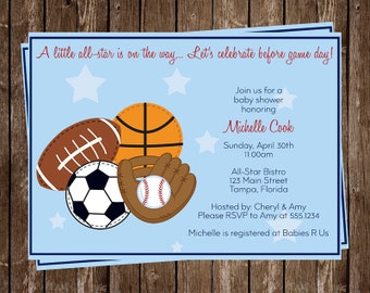 Sports, Baby Shower Invitations, Baseball, Basketball, Football, Soccer, Blue, Boys, Birthday, 10 Printed Invites, MVP, Free Shipping, ASTBL