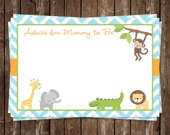 Jungle, Animals, Baby Shower, Advice for Mommy, Boys, Blue, Chevron, Safari, Stripes, 24 Printed Cards, WWEBL, Wild With Excitement Boy
