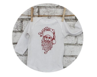 Believe in Santa Clause Long Sleeved Baby One-piece Bodysuit, Cotton Infant Clothing, Saint Nicholas, Christmas Holiday Shirt, Hand Printed