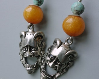 Vintage Hannya Japanese Demon Mask Earrings