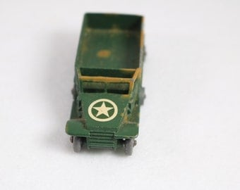 Lesney Matchbox Army Truck No. 49 Gray Wheels England