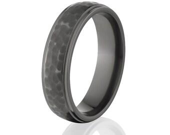Strong Wedding Rings, Black Bands, Premium Black Zirconium Ring: BZ-5HRRC-BHB