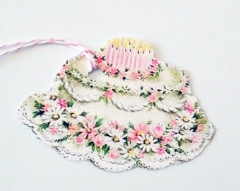 Birthday Cake Tags - Set of 3 - Retro Cake Tag - Gift Tags - Mid Century Cake - Pink And White - Fancy Cake Tag - Birthday Party Tag -