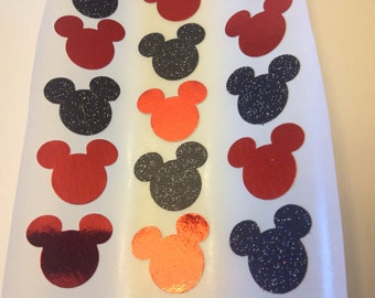 Mickey Mouse Paper Stickers 30 pc Black glitter any Red mirrored Baby Shower Birthday