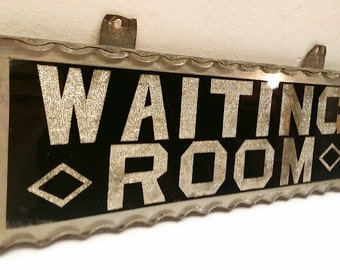 1920s Art Deco Foil and Glass Waiting Room Sign