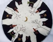 Halloween Table Mat Primitive Penny Rug Wool Black Cat