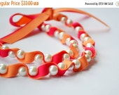 Clearance Sale Twillypop Ivy Ribbon and Pearl  Necklace in Summer Melon and Shocking Pink. Pearls. Ribbon Necklace. Fashion Jewelry. Bridesm