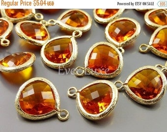 15% SALE 2 amber orange 13mm glass pendants, teardrops with bezel frame, glass charms, diy jewelry 5064G-AB-13 (bright gold, amber, 13mm, 2