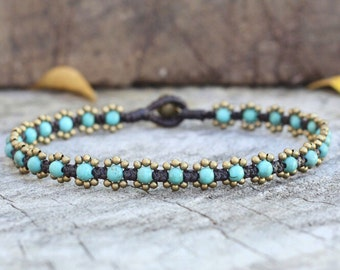 Elfin Turquoise Brass Anklet
