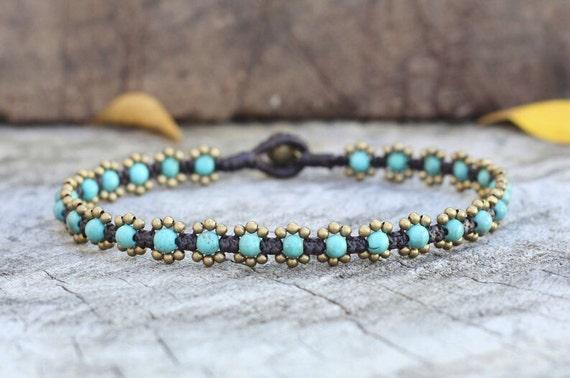 Elfin Turquoise Brass Anklet