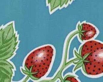 Light Blue Strawberry Oilcloth Fabric