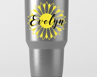 Sunflower Name Decal for Tumblers - Yeti, RTIC, Ozark Trail and More