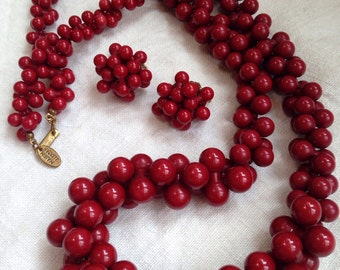 Miriam Haskell Red Bead Necklace and Earrings