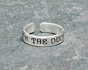 Sterling silver men's toe ring with I'm the dude - Solid 925 TR436