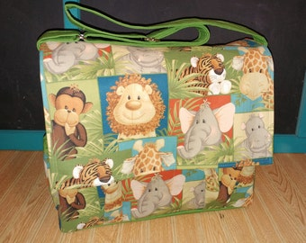 DIAPER BAG,  Jungle Diaper Bag, Crossbody bag, Baby Shower Gift, Washable Diaper Bag, Jungle Theme, Large Diaper Bag, Ready to Ship