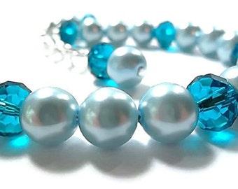 Wedding Bracelet/ Pearl Bridal Bracelet/Bridal Jewelry/Light Blue/Blue Zircon Crystals/
