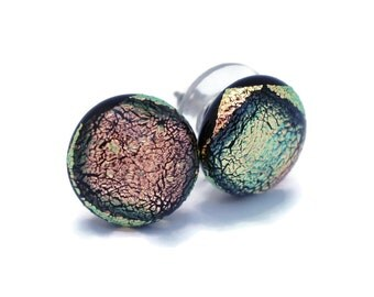 Small Dichroic Stud Earrings, Fused Glass Earrings, Pink Earrings, Post Earrings, Hypoallergenic,Dichroic Fused Glass Earrings 119