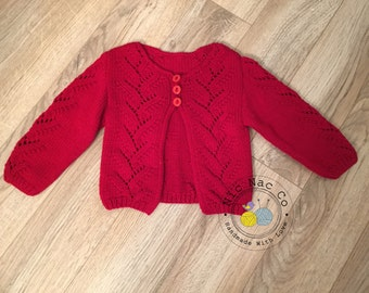 Baby Cardigan and blindfold, point lace, red, 3 buttons, 12 months