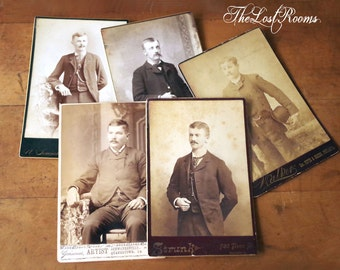 Antique Cabinet Cards Men with Mustaches Lot of 5 - Victorian Photographs