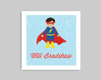SUPER BOY Calling Card or Gift Label Stickers