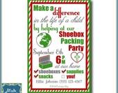Digital Shoebox Packing Party Invitation