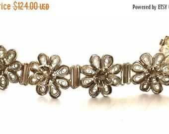 Valentines Lovers SALE Circa 1930s Stunning Art Nouveau Filigree Spun Italian Sterling Silver Flower Vintage Antique Bracelet