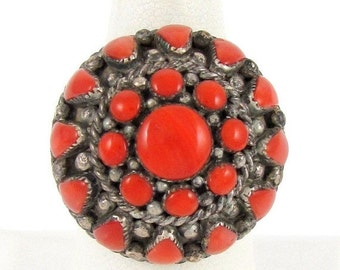 Valentines Lovers SALE  Heavy Navajo Red Coral Sterling Silver Vintage Cluster Dome Native American Ring Singed