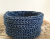 Crochet Bowl, Crochet Basket in Country Blue