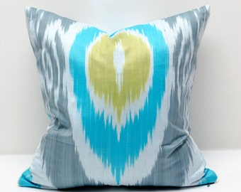 15x15 gray turquoise ikat pillow cover, gray pillows, gray ikats, gray turquoise, decorative pillow, throw pillow, accent pillow