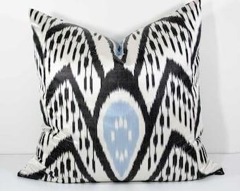 20x20 black blue white lumbar ikat pillow cover, ikat cushion case, blue black, pillows, black blue pillows, ikat, ikat pillows