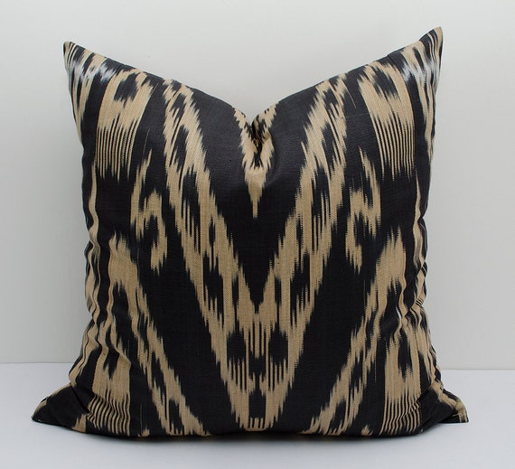 Black And Beige Decorative Pillows : 20x20 ikat pillow cover black beige pillows pillow case