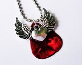 Clearance Sale Guitar Pick Necklace Winged Heart Red Pearloid