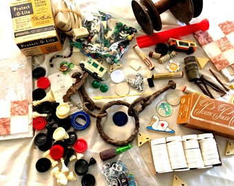 Junk Treasures. Junk Drawer, destash, mixed media, upcycle, steampunk. Lots of little pieces for crafting, mosaics! Over 200 Pieces. Box 4