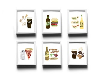 Set of 6 Beer Pairing Prints