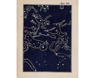 1910 mini constellation figures original antique celestial astronomy print -  map 28