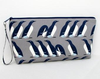 Large Zippered Project Bag, Penguin Parade, Charley Harper Birds, Wedge Bag