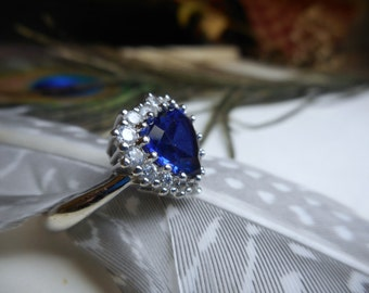 Vintage Sterling Silver, Blue Sapphire & CZ Heart Shaped Engagement ring.  Size 6