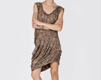 NEW SUMMER 2016!!! Floral brown shirt, oversize asymmetric t-shirt pleats one side sleeveless extravagant top mini dress stylish tunic